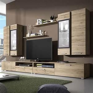 ensemble meuble tv couleur chene clair et gris With meuble de salon contemporain