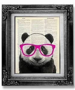 affiche panda lunettes rose fluo deco decoration With affiche chambre bébé avec livraison roses rouges Ï domicile
