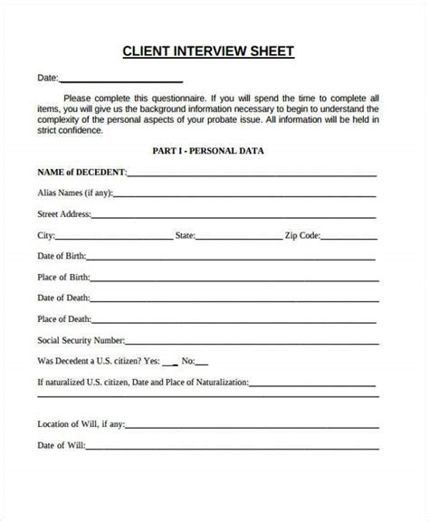 interview sheet templates  sample  format