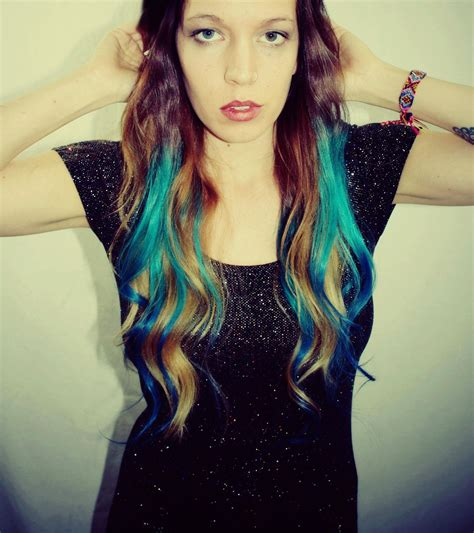 Ombre Turquoise Blue Tip Dyed Hair Extensions Like The