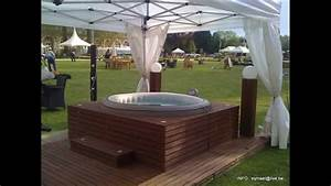 habillage spa jacuzzy youtube With photo de spa exterieur