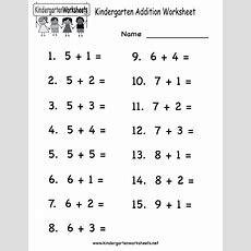 Printable Adding Worksheets  Kindergarten Addition Worksheet  Free Math Worksheet For Kids