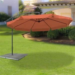 Sonnenschirm 350 Cm : ampelschirm sonnenschirm mit 350 cm durchmesser in terracotta material polyester 160g ~ Buech-reservation.com Haus und Dekorationen