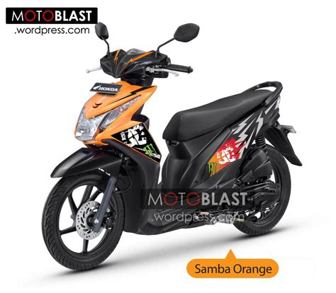 Honda Beat Modif by Modif Striping Honda Beat Fi Orange Motoblast
