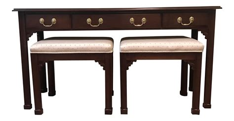 sofa table with stools harden furniture sofa table nesting stools set of 3 chairish
