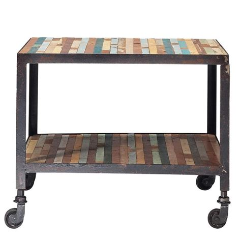 bout de canapé en bois bout de canapé à roulettes en bois multicolore l 45 cm