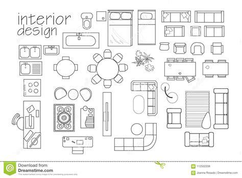 interior design floor plan symbols top view furniture