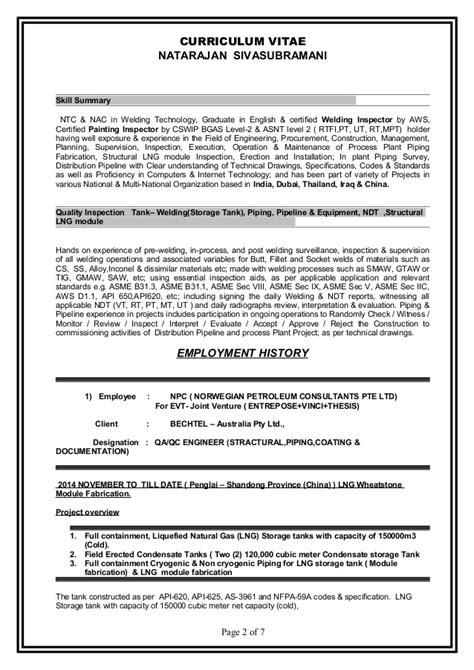 Ndt Level 3 Resumes by Resume Natarajan Sivasubramani