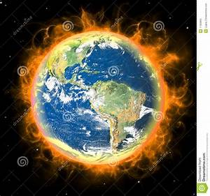 Real Earth Planet In Space. Red Fire Sun. Stock Photos ...