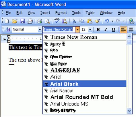tested features of microsoft word 2003