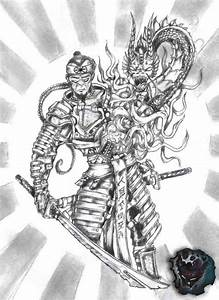 Dragon And Samurai Fighting Tattoo Design   ercms ...