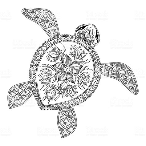 Coloring Vector by Pattern For Coloring Book Decorative Graphic Turtle Stock