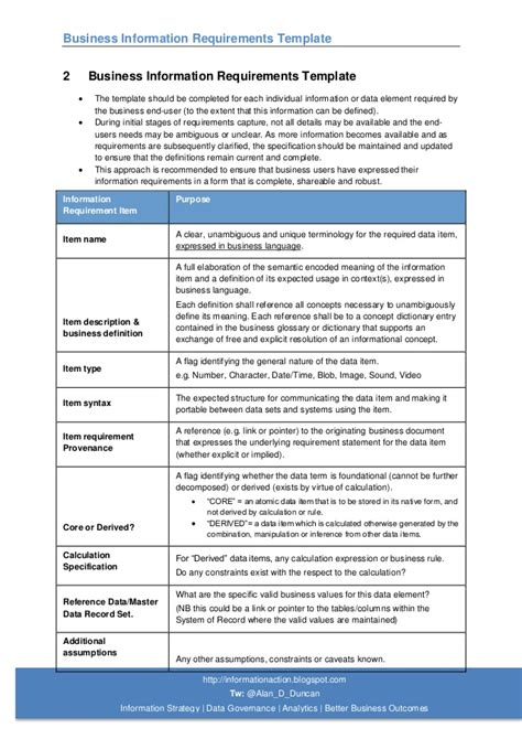 03 Business Information Requirements Template