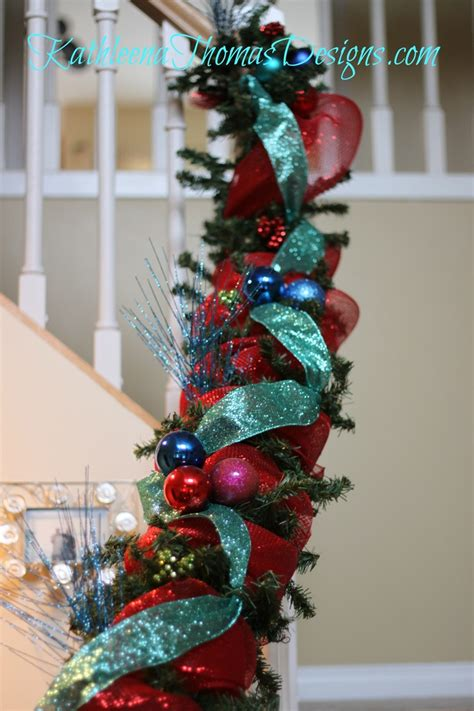 christmas stair decorations  red blue turquoise