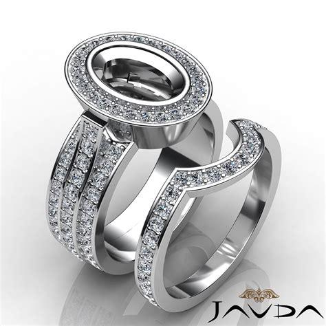 engagement pave ring bridal sets platinum 950 oval