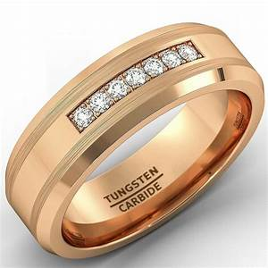 8mm Rose Gold Tungsten Carbide Ring With Brilliant CZ Mens