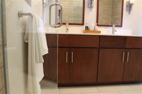 Bathroom Fixtures Los Angeles by Walnut Sink Vanity With Modern Fixtures