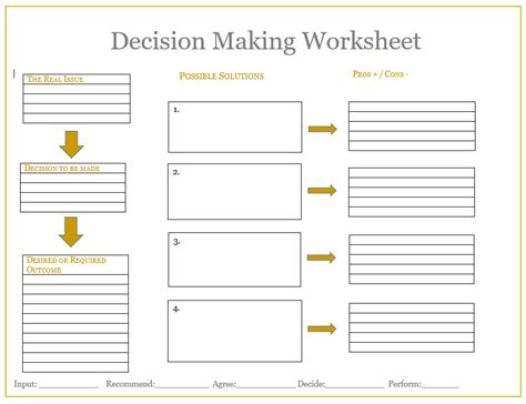 decision worksheets resultinfos
