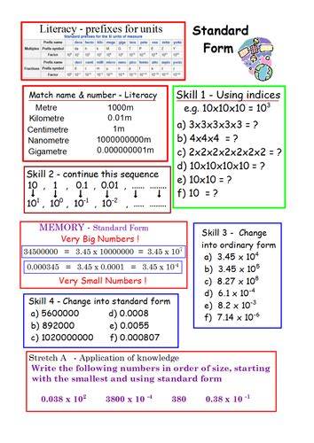 Full Lesson Worksheet Activities For Standard Form By Hjcurry  Teaching Resources Tes