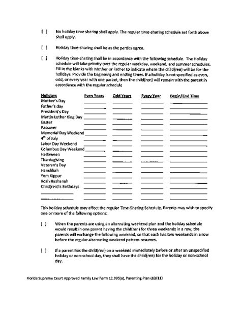 shared parenting plan template sle parenting plan template florida free