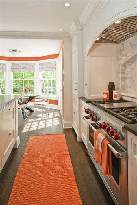 White And Orange Kitchen  Contemporary  Kitchen