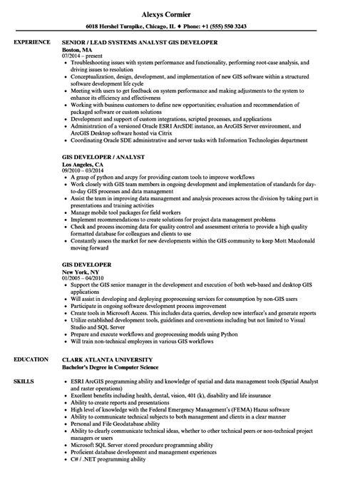 Gis Analyst Resume Sle by Gis Developer Resume Sles Velvet