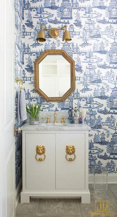 blue powder room  brass towel holder contemporary
