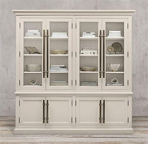 Restoration Hardware Bar Cabinet by 20th C Brass Bar Pull Glass 4 Door Sideboard