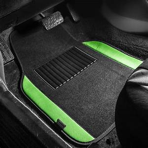 Bestfh  Green Black Carpet Floor Mats Combo W   Rubber