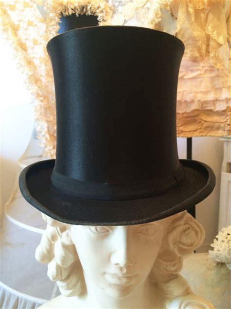 antique french silk top hat gentlemans decor costume piece