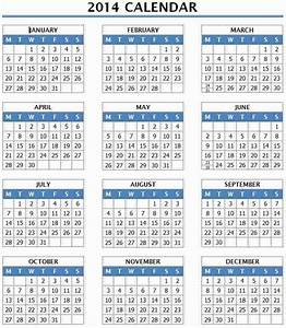 2014 year calendar template 12 months in one page ms With 2014 full year calendar template
