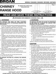 Broan B5630ss User Manual Range Hood Manuals And Guides