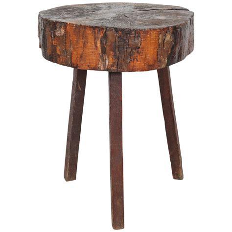 rustic wood table ls rustic wood block tall side table at 1stdibs