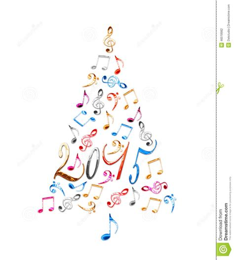 2015 Christmas Tree With Colorful Metal Musical Notes