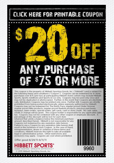 87676 Team Sports Coupon Code by New Hibbett Sports Coupon 20 75 25 All