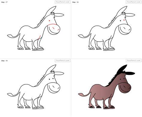 fpencil   draw donkey  kids step  step