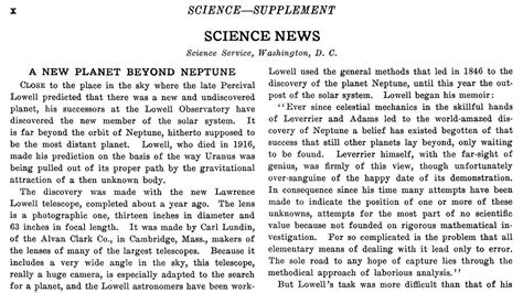 'a New Planet Beyond Neptune' The Year We Discovered Pluto  Science Aaas