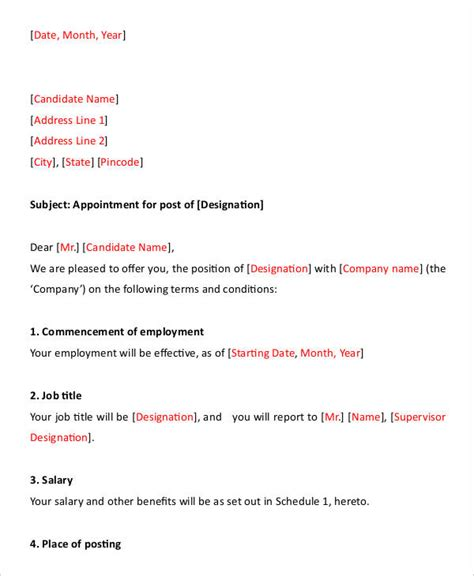 appointment letter format templates   word docs