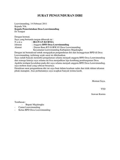Surat Pengunduran Diri Komisaris Perusahaan | Contoh-surat.web.id
