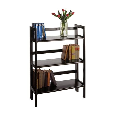 winsome wood folding bookcase winsome wood 3 tier folding shelf black 20896