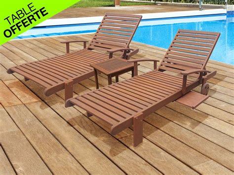 bain de soleil en bois lot de 2 bains de soleil en bois exotique s 233 oul marron clair 66975
