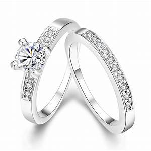 2016 new delicate fashion silver plated shinning cubic With double rings wedding set