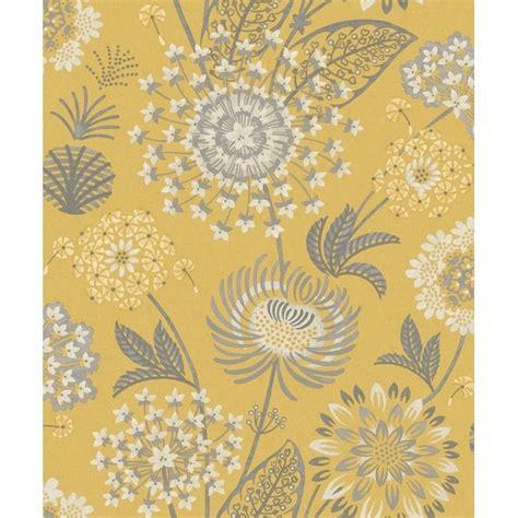 arthouse vintage bloom floral mustard yellow  grey