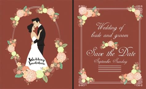 bride weds groom wedding card template vector flower for free download about 4 729 vector