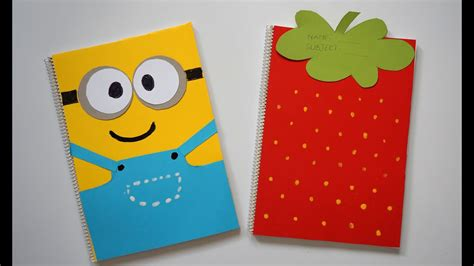 diy notebook covers minions strawberry   school