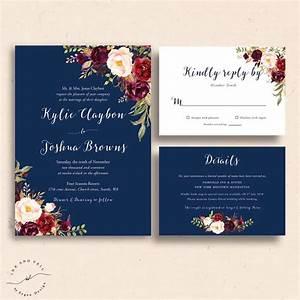 navy floral wedding invitations navy wedding invite With wedding invitation sample maroon