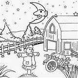 Coloring Night Pages Scenery Printable Drawing Moon Cartoon Pumpkin Sky Farm Fall Harvest Worksheets Background Sun Star Witch Children Sheet sketch template