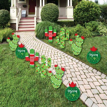 merry christmas outdoor decorations merry cactus lawn decorations outdoor cactus yard decorations 10