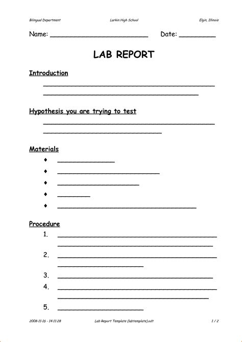 Lab Report Template 6 Formal Lab Report Template Printable Receipt