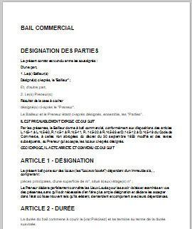 modèle de bail commercial id 233 e modele bail commercial 3 6 9 pdf